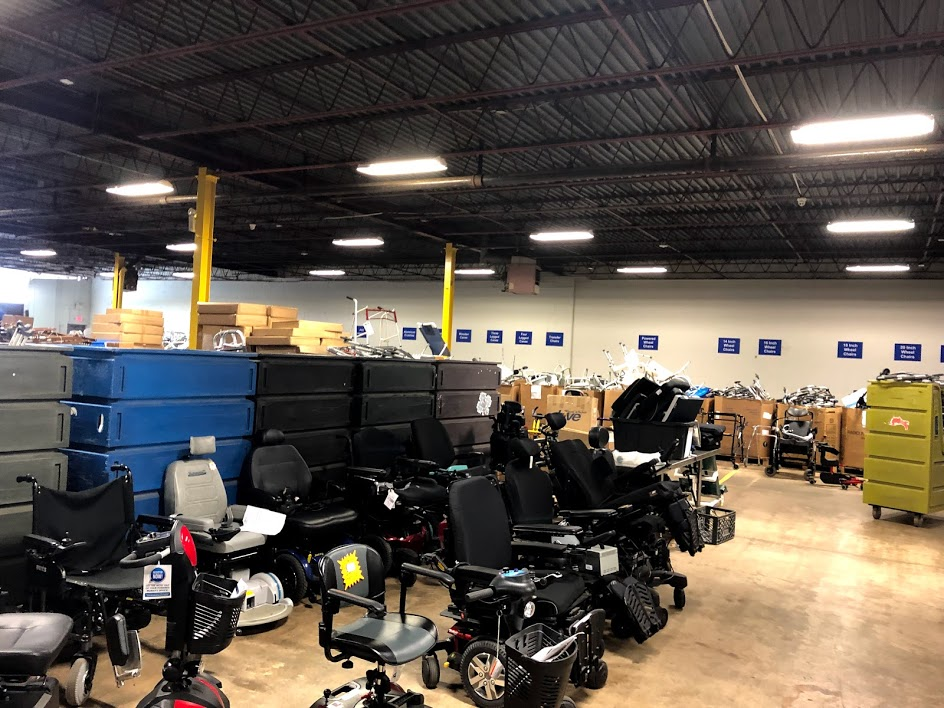 Device reuse warehouse with a variety of wheelchairs and other durable medical equipment devices.
