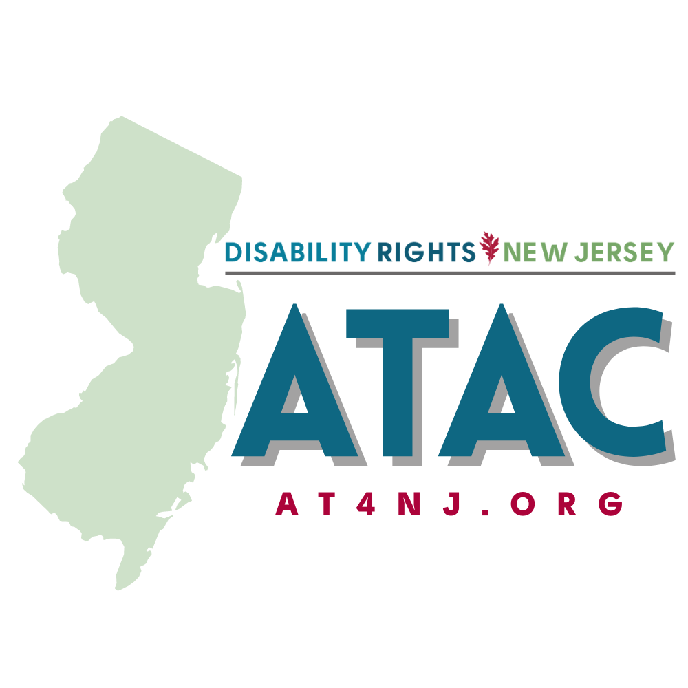 Logo for ATAC. Outline of state of NJ with Disability Rights New Jersey ATAC AT4NJ.org alongside